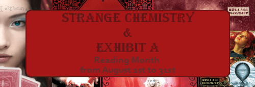 Banner with images from Strange Chemistry cover art, announcing a reading month in August