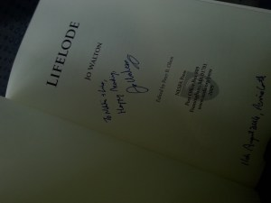 Picture of the title page of Jo Walton's Lifelode, autographed