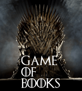 "A ""Game of Books"" image, based on the Iron Throne"