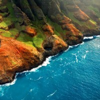 A colorful photo of the rocky shore