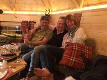 Jules Hudson and wife Tania enjoying the BBQ hut at Brechfa Forest Barns