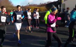 Image shows a still from the race video of the start of the run.