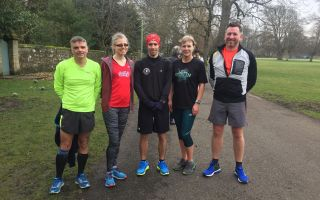 Photo shows Ian, Pauline, Barry, Tina and Craig post-Parkrun