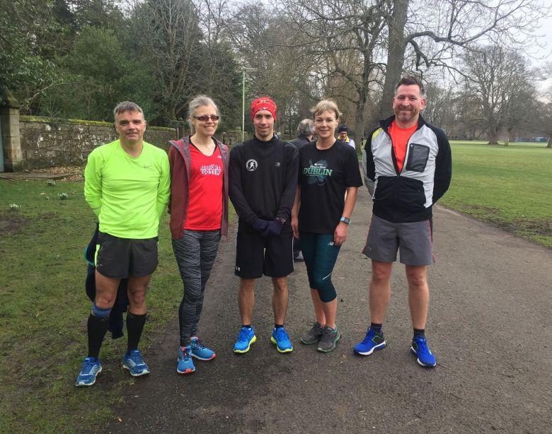 Photo shows Ian, Pauline, Barry, Tina and Craig post-Parkrun