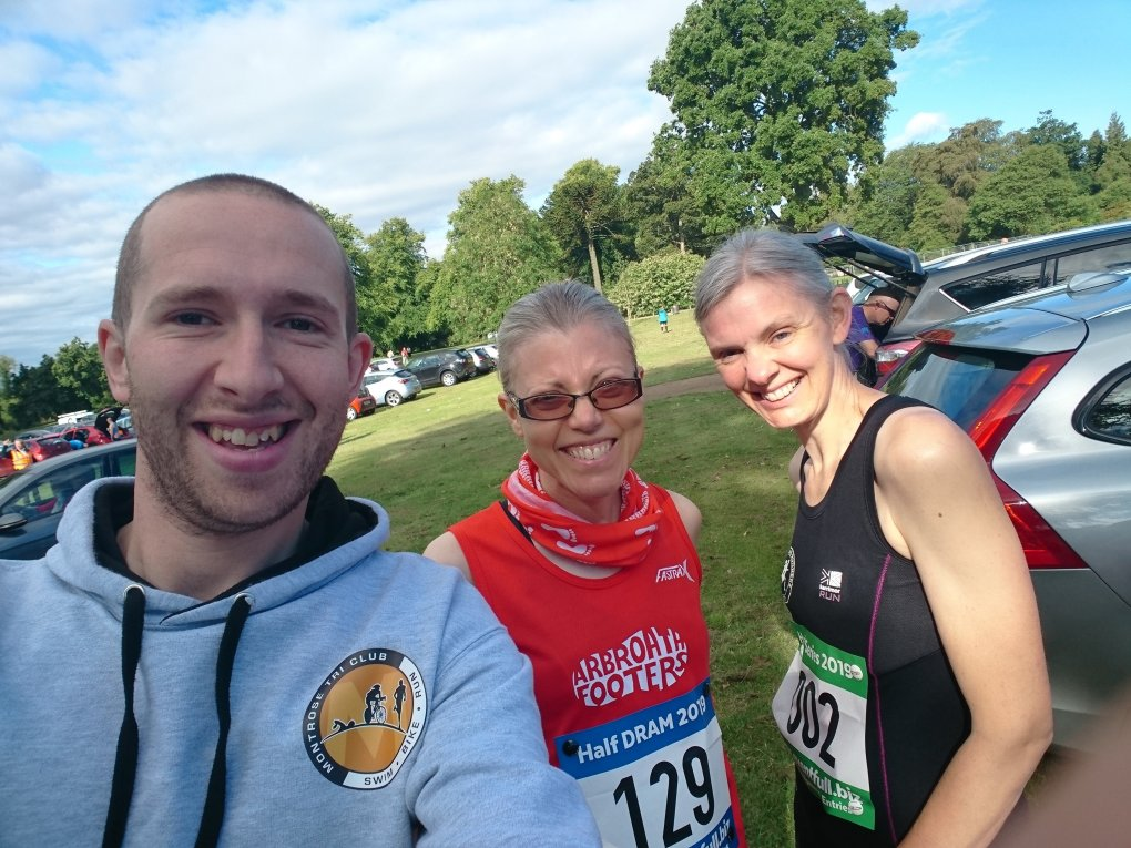 Photo shows Keith, Pauline and Kate pre-race