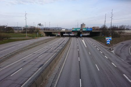 A main road in Gothenburg, with next to no traffic on it.
