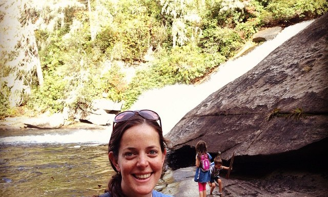 My beautiful wife at Triple Falls in DuPont State Forest.