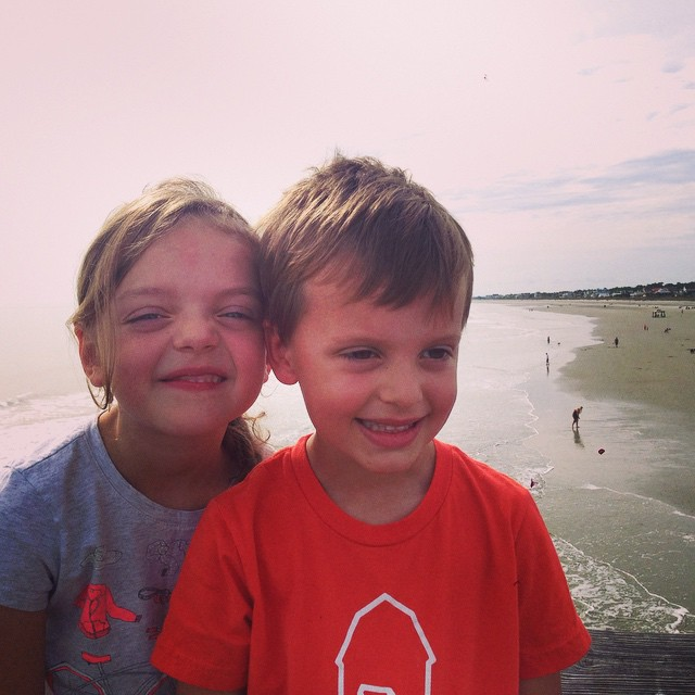 A moment of sibling love at Folly Beach.... Just before some biting