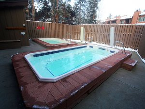 Two outdoor hot tubs.