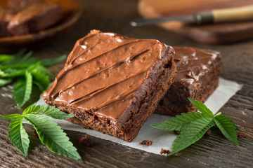 Marijuana brownies with cannabis leaves