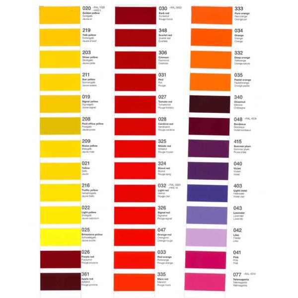 Båddekor – Bådfolie Farveeksempler rød til gul