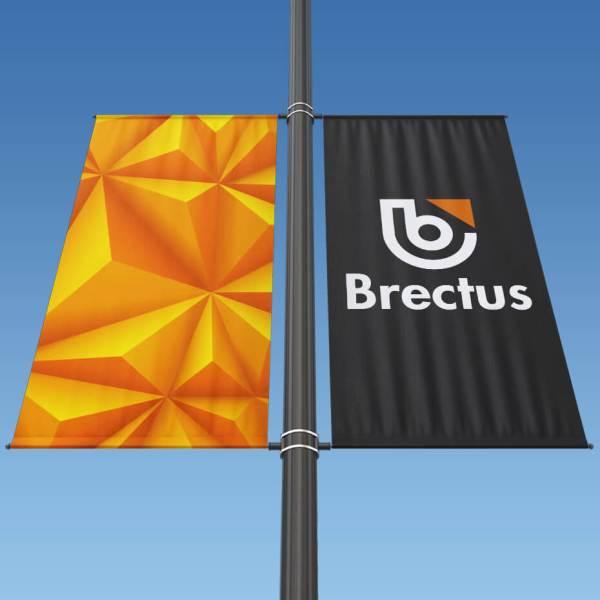 Bannerarm flag på stolpe Dobbelt