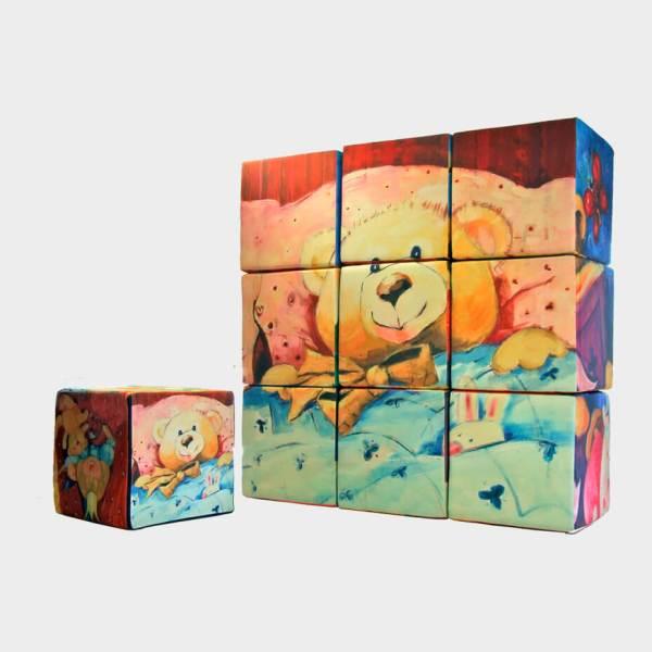 Kube byggesæt sat op i en firkant