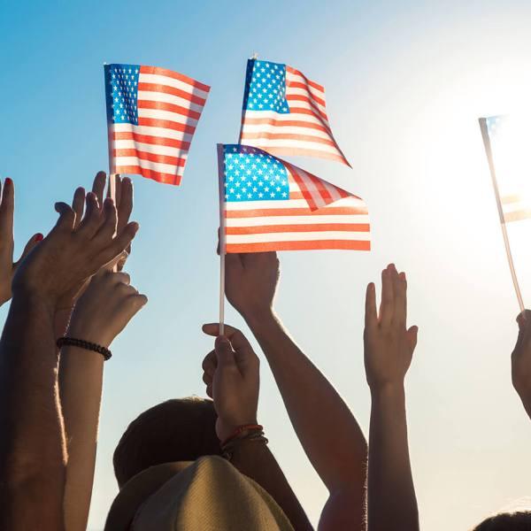 Supporter- eller Balkon - Altan flag USA flag