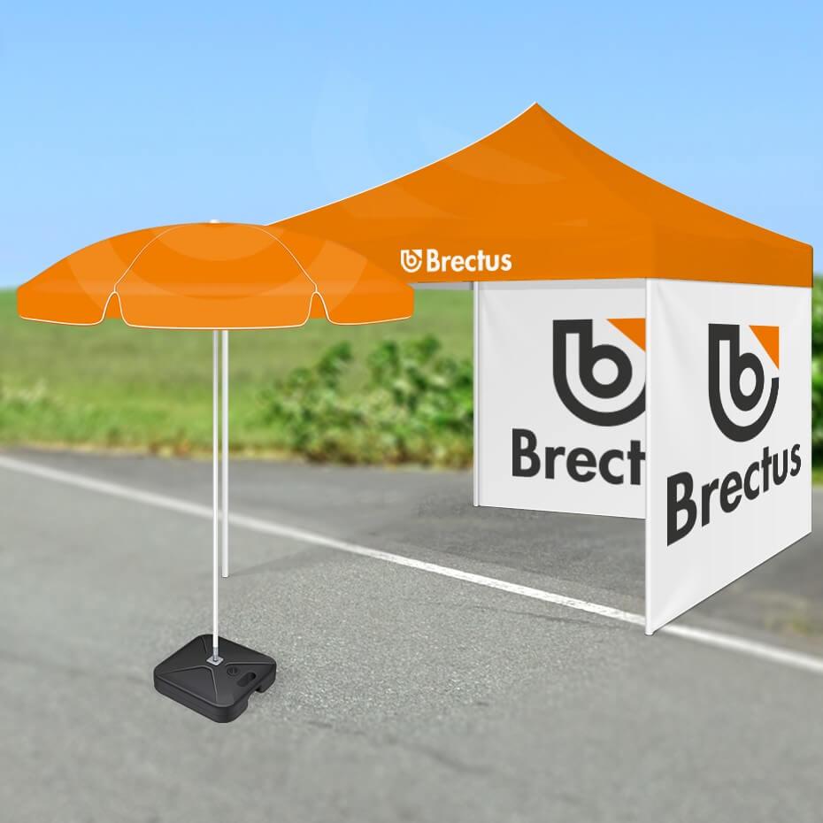 Brectus messetelt med parasoll på vei miljø