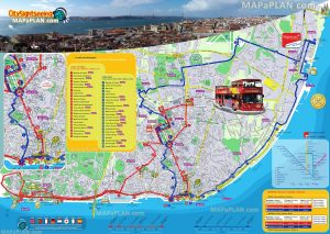 Lisbon top tourist attractions printable city map