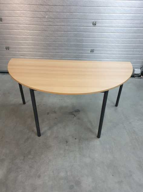 8x Kantine tafel 160x80 halfrond. Beuken antra