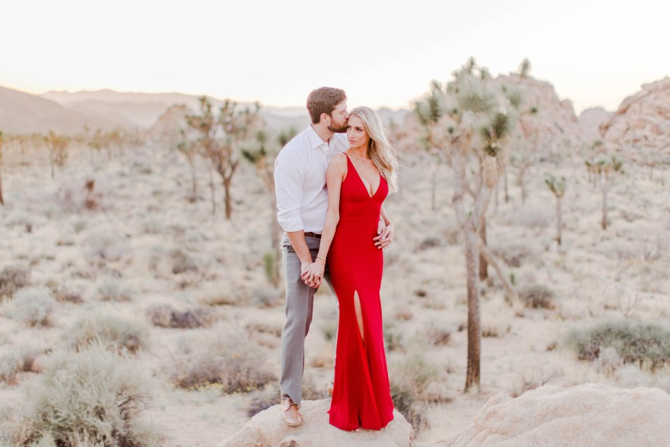 Romantic engagement photos of a couple in joshua tree national park