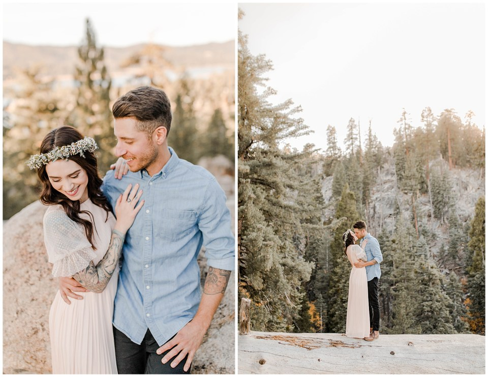 couple takes their engagement photos at Big Bear Lake in california