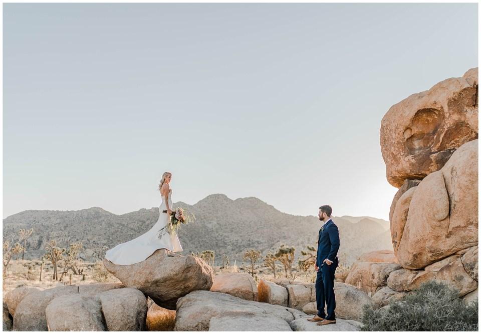 groom looking at his beautiful bride in joshua tree national park
