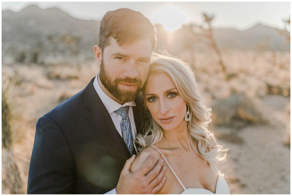beautiful bride and groom in the california desert