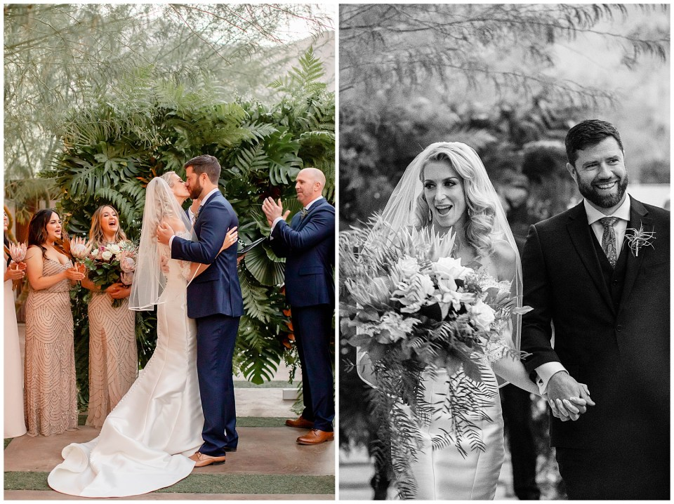 bride and groom first kiss in palm springs, california