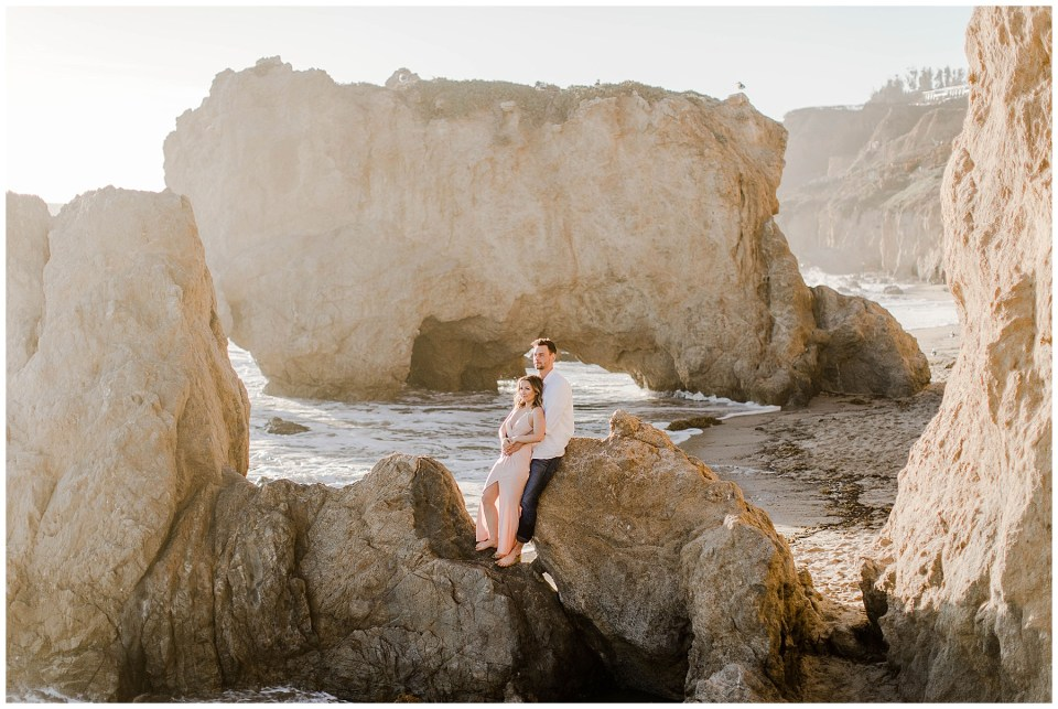 Romantic photos of a couple enjoying sunset at El Matador State Beach - engagement photography locations by bree and stephen photography