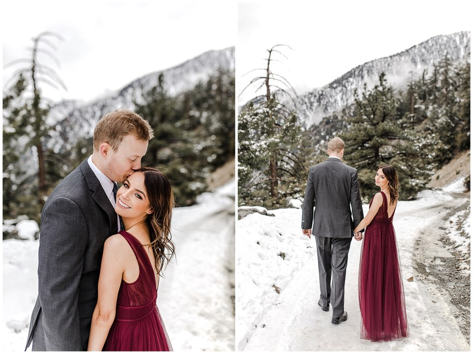 Romantic photo of a couple kissing in the snow!