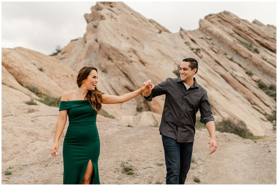 couple dancing at vazquez rocks in southern california