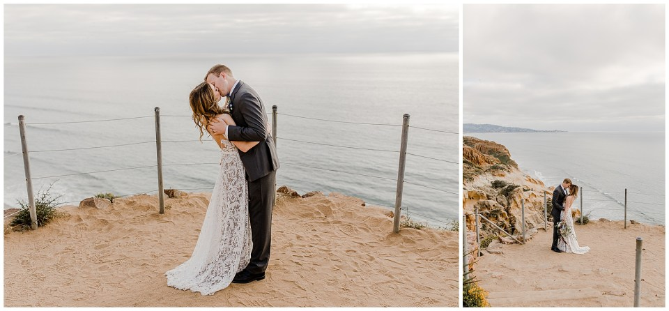 bride and groom enjoy multiple first kisses at torrey pines