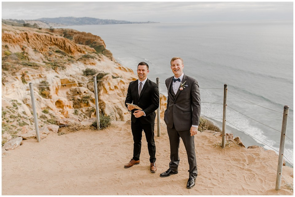 groom waiting for his beautiful bride at torrey pines