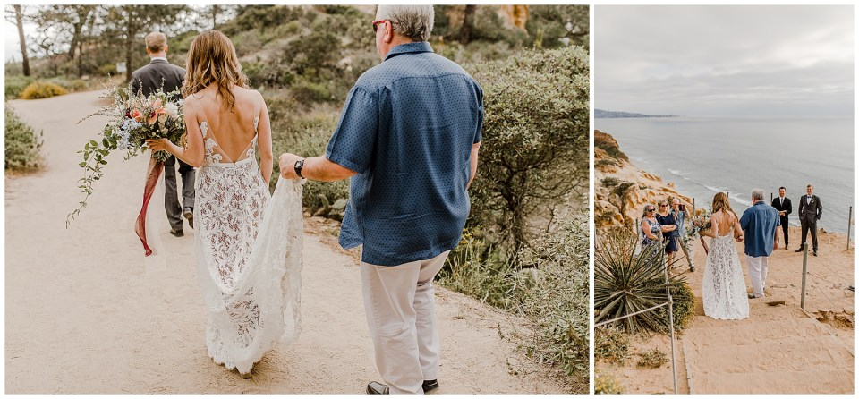 dad walks his daughter down the aisle at torrey pines