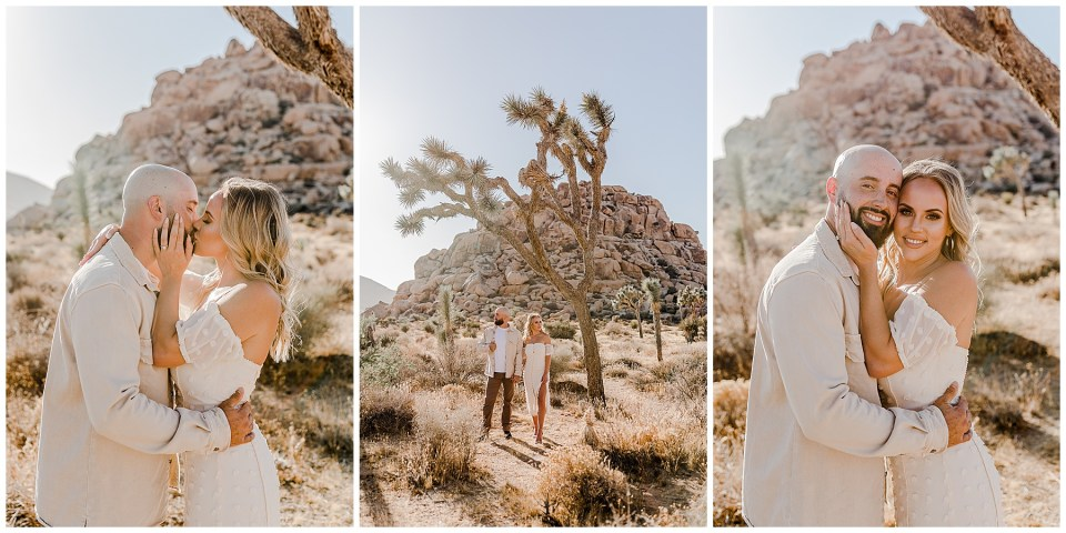 3 pictures of a young couple taking engagement photos in joshua tree national park.