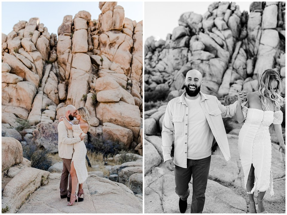 man and woman laughing and taking romantic engagement photos in Joshua tree national park