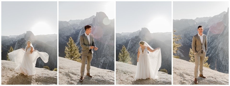 bride and groom posing at glacier point in yosemite