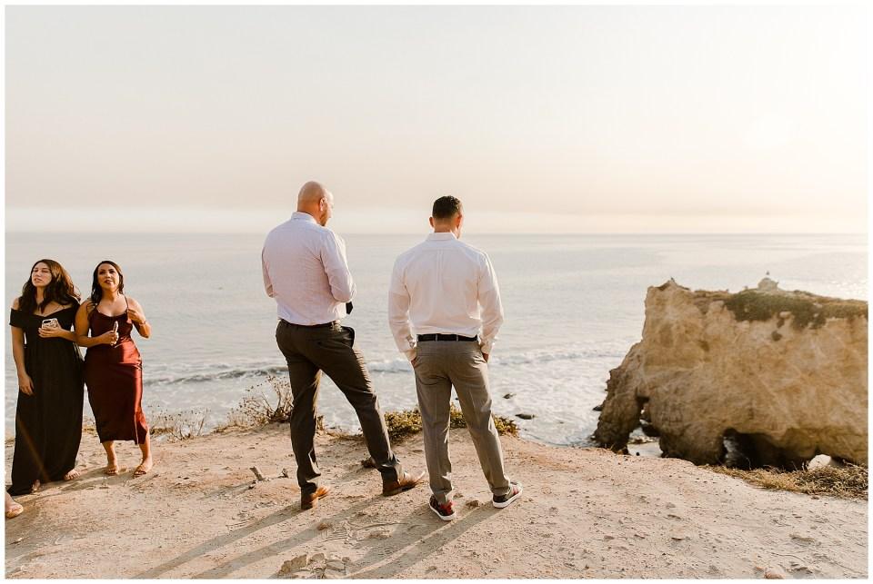 groom waiting for his bride during their el matador beach elopement