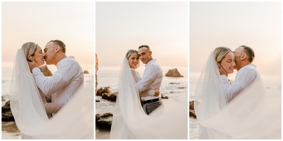 Bride and groom kissing at el matador beach