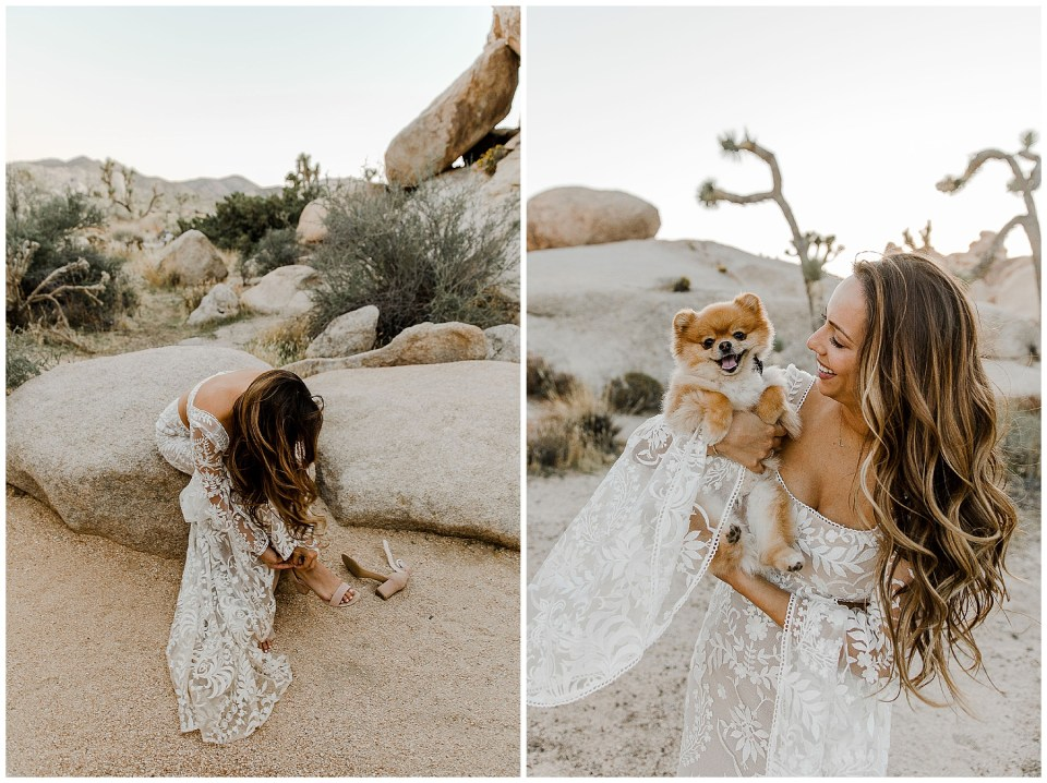 beautiful bride smiling for a photo with her dog in joshua tree national park