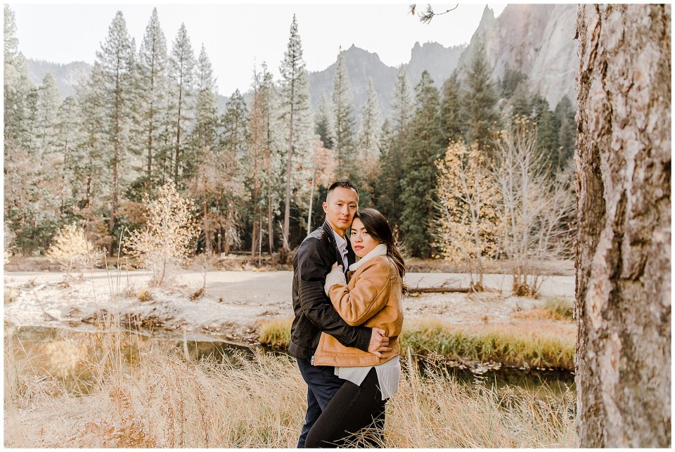bride and groom looking stylish during their adventurous yosemite engagement session