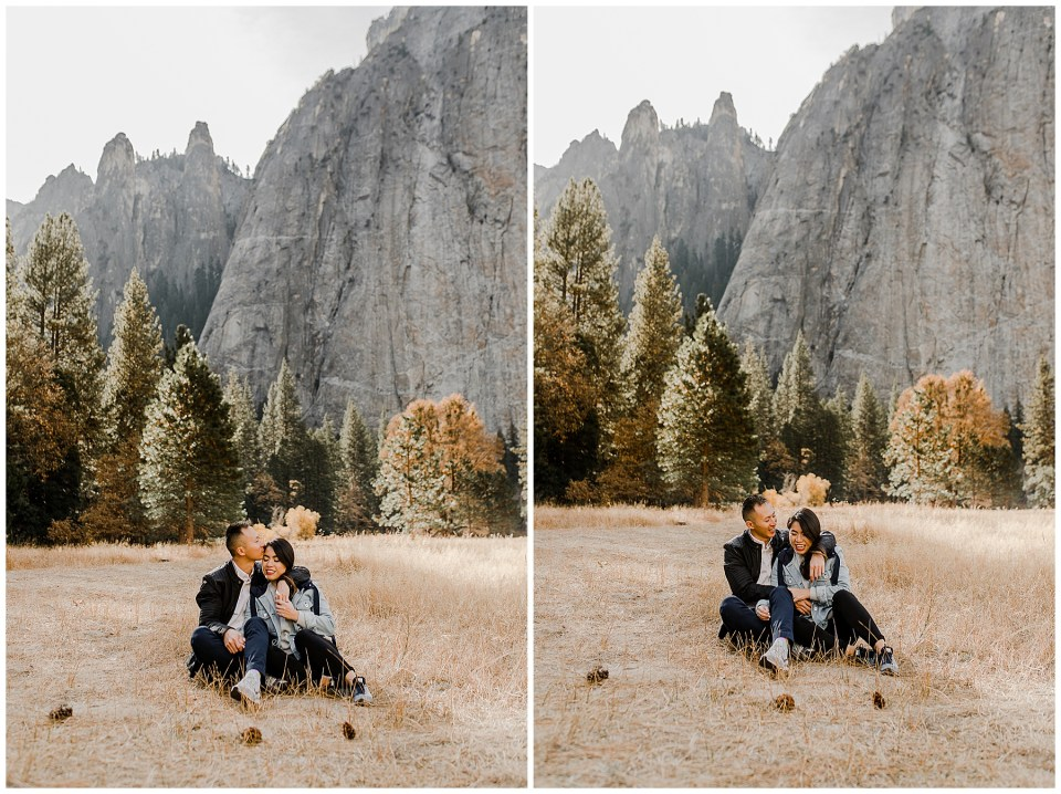 bride and groom take stylish engagement photos in yosemite