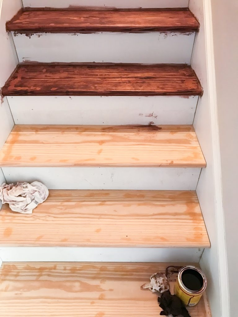 Diy Budget Stair Makeover Kiss That Old Carpet Goodbye For Under | Replacing Particle Board Stair Treads | Basement Stairs | Carpeted Stairs | Plywood | Stair Nosing | Stair Case