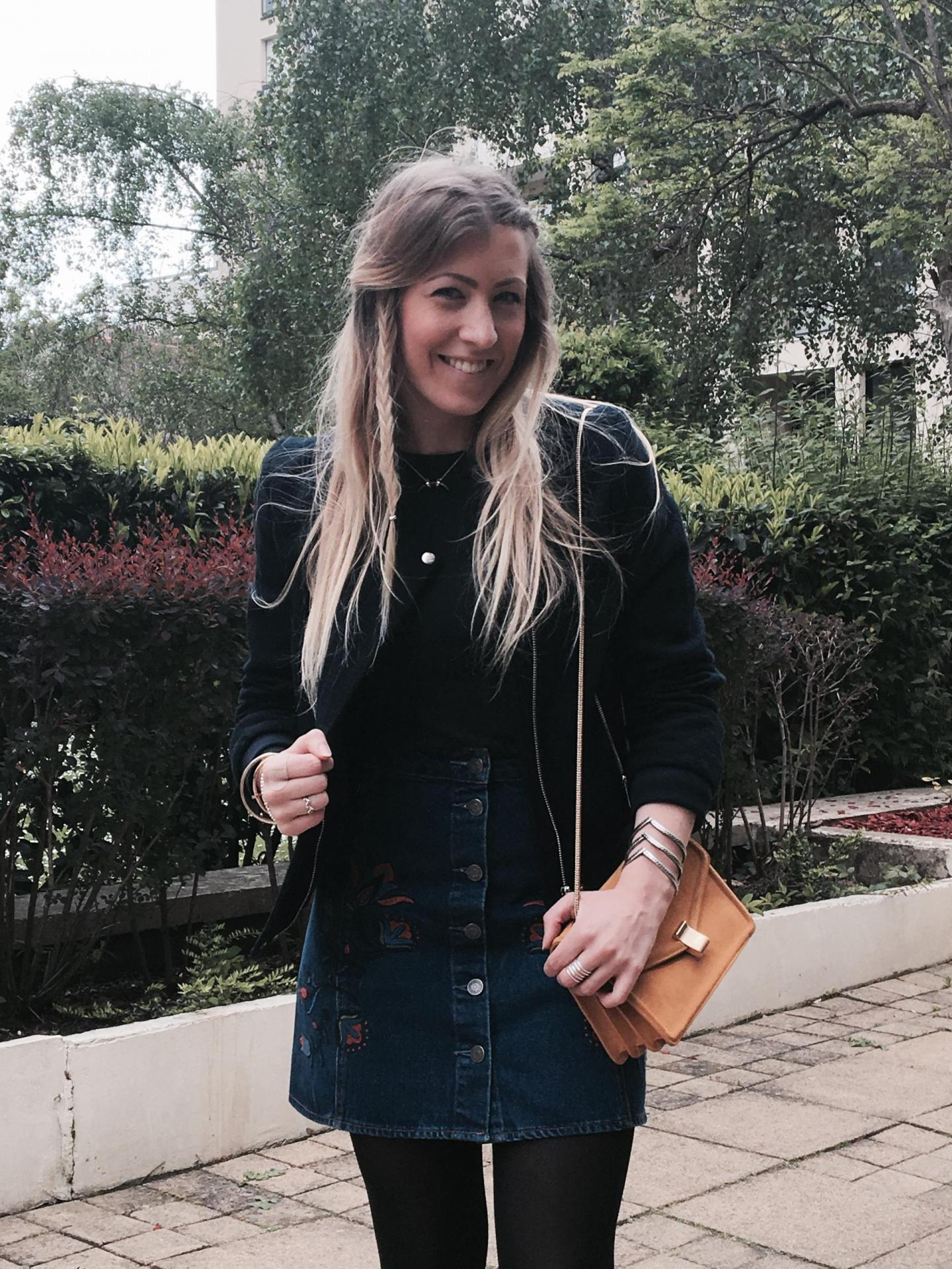 Sharefashion - La jolie jupe en jean brodée 1