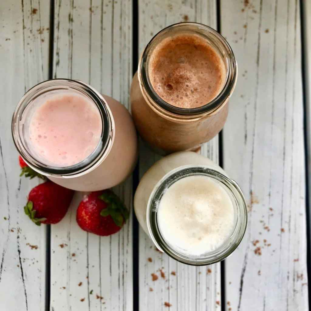 Vegan Milkshakes. Chocolate, Strawberry, and Vanilla Flavours.