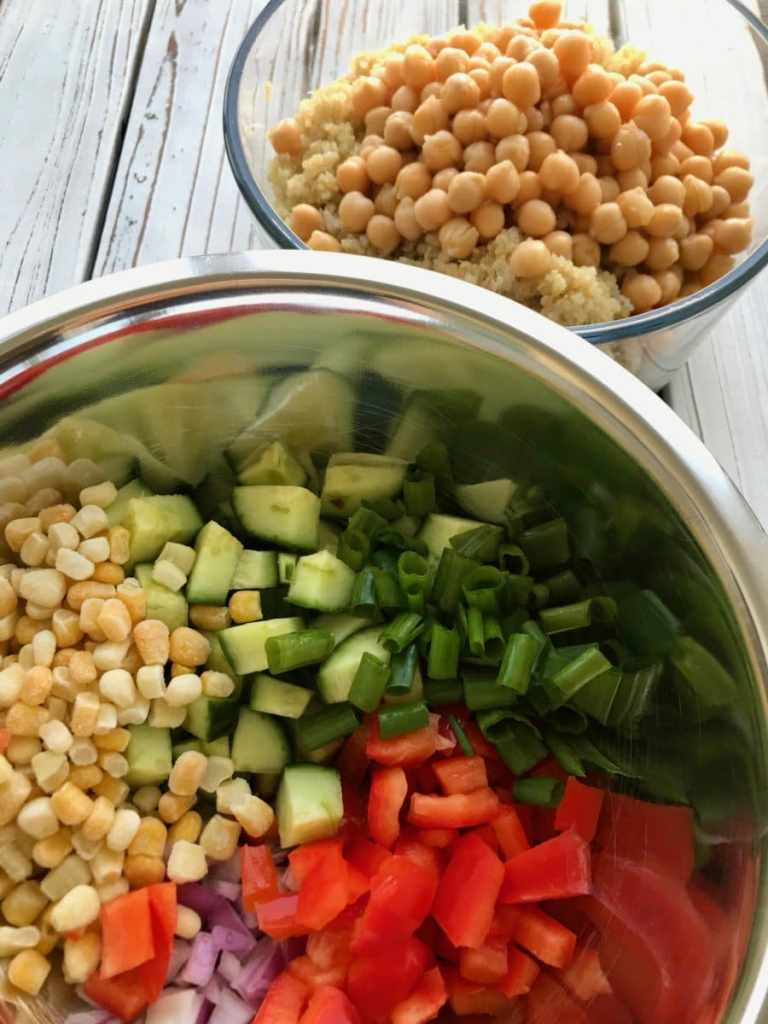 Ingredients for vegan quinoa salad.