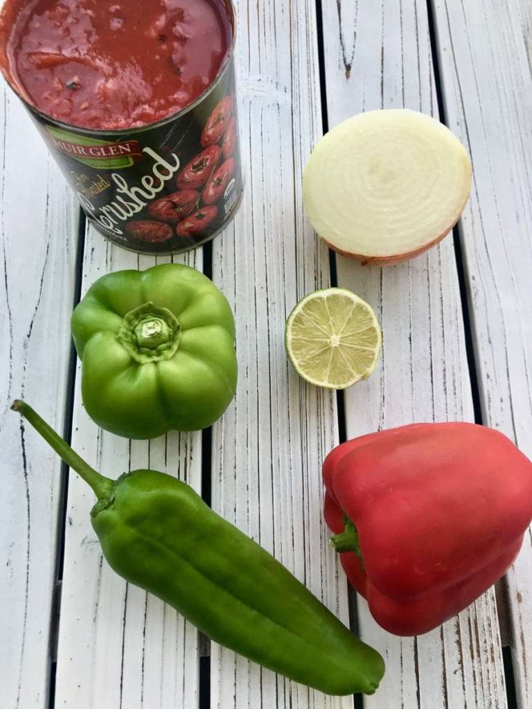 ingredients for the best mild salsa recipe.