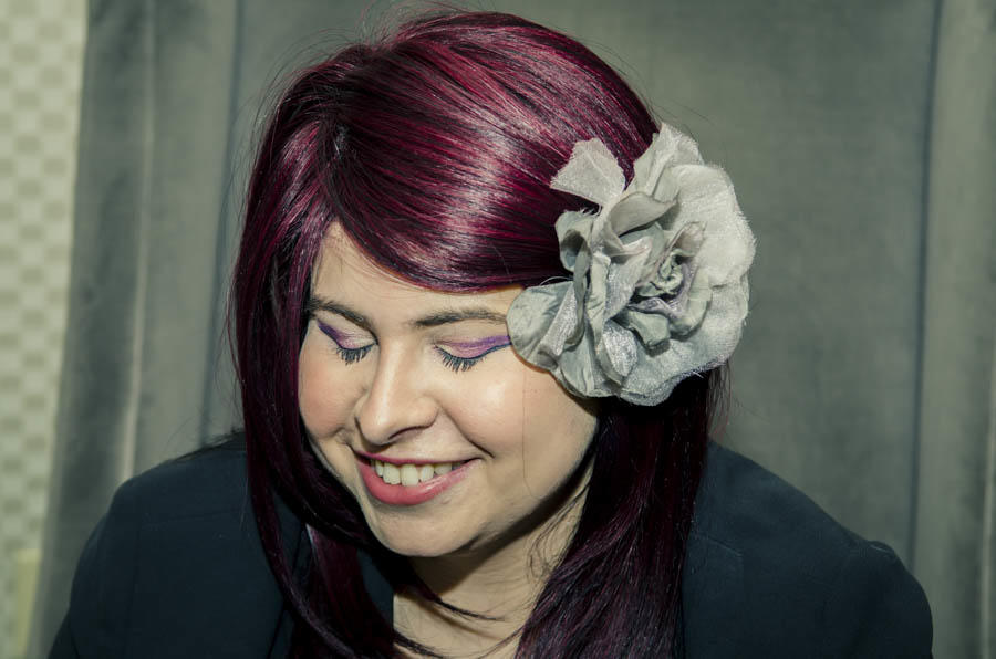 Breezer Rocks Candid Eyes with burgundy violet hair and purple cat eyes