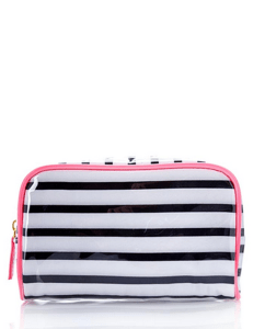 Forever 21Striped Midsize Cosmetic Bag -Breezing Through