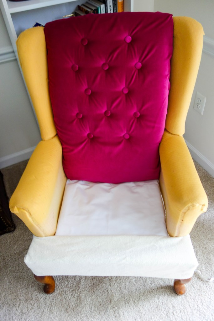 DIY Friday- Pink Tufted Velvet Chair | Breezing Through 12