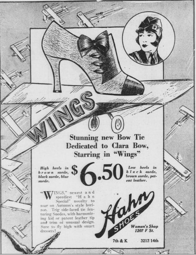 Hahn Shoes Washington DC Vintage Ad Clara Bow Tie Wings Movie Merchandise