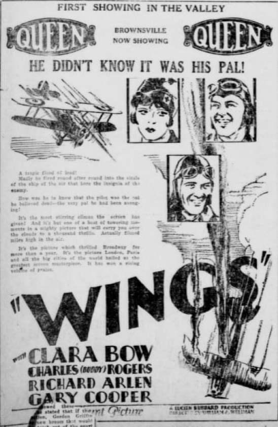 Vintage Wings Movie Ad, Brownsville Herald, 1928